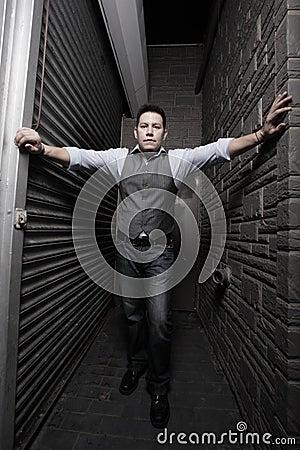 Man between walls