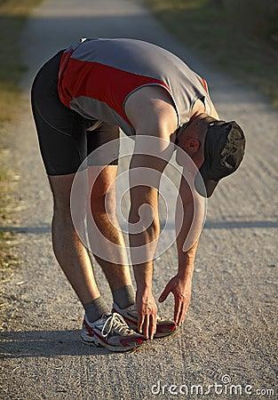 Man warm up before run