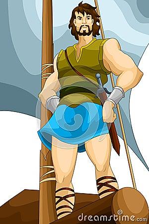 Stock Image: Man warrior hero raft character cartoon ...