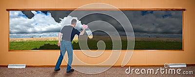 Spring Cleaning Banner, Man Washing Windows