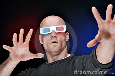 Man Watching 3D Movies