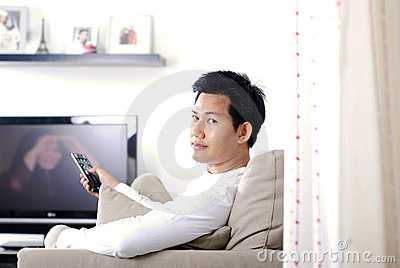 Man watching movies
