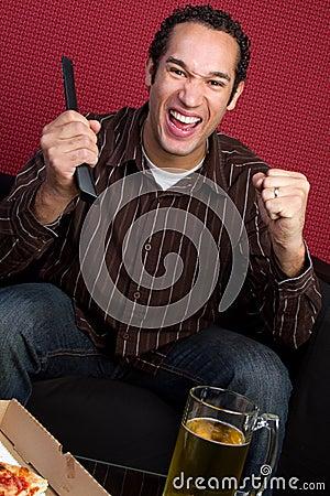 Free Man Watching TV Royalty Free Stock Photo - 13013195