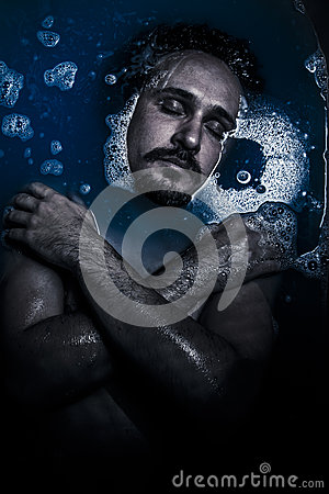 Man on water, melancholy and suicide, sadness and depression con