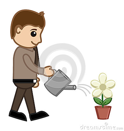 Man Watering a Plant - Vector Concept