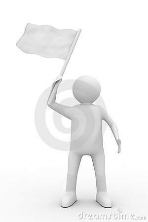 Man waves flag on white background