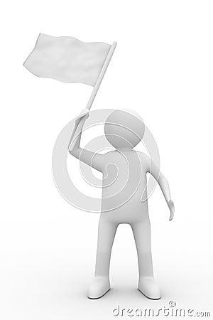 Man waves flag on white background