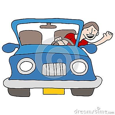 Man Waving From Car