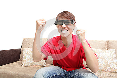 Man wearing 3d glasses watch tv