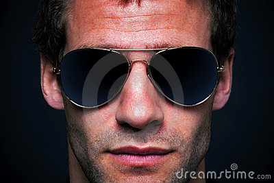 Man wearing aviator sunglasses