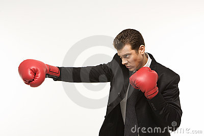 Man wearing boxing gloves