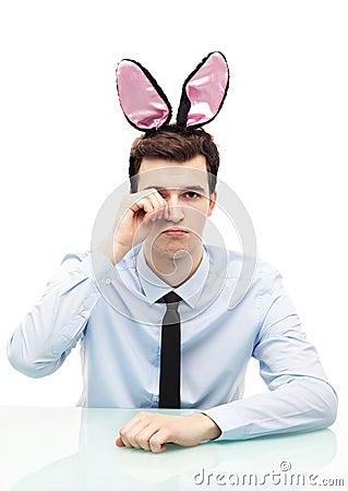 Man wearing bunny ears
