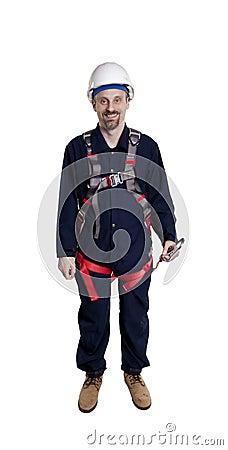 Man wearing fall protection