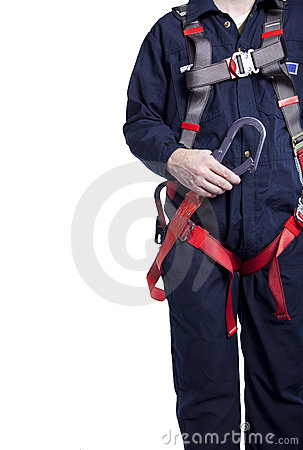 Free Man Wearing Fall Protection Stock Image - 22322771