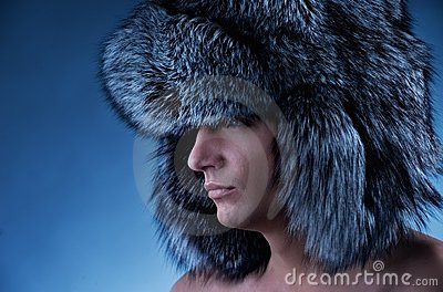 Man wearing fluffy hat