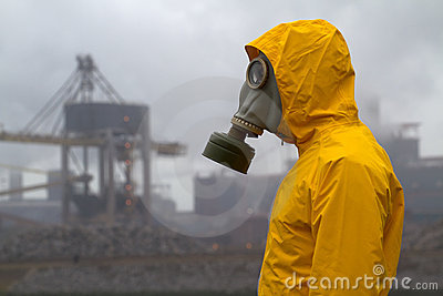 Man wearing a gas mask