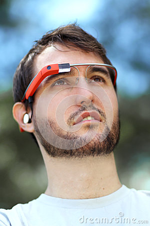 Man Wearing Google Glass Editorial Image