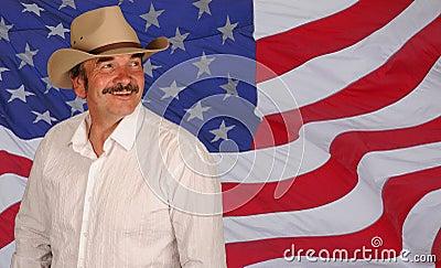 Man wearing hat on US flag