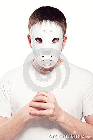 Man wearing hockey mask
