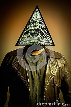 Free Man Wearing Illuminati Eye Of Providence Mask Stock Photo - 20809350