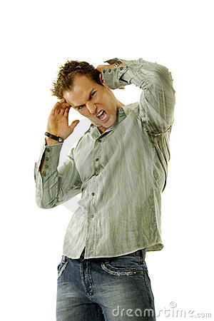 Man wearing jeans and shirt