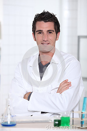 Man wearing lab coat