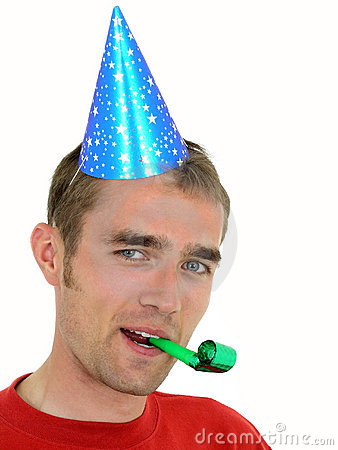 Man wearing a party hat