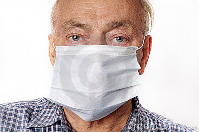 Man wearing a protective breath mask.