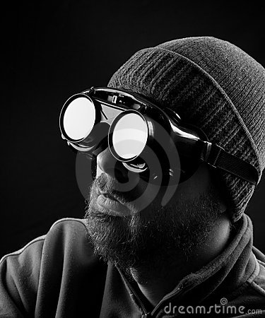 Man wearing protective goggles