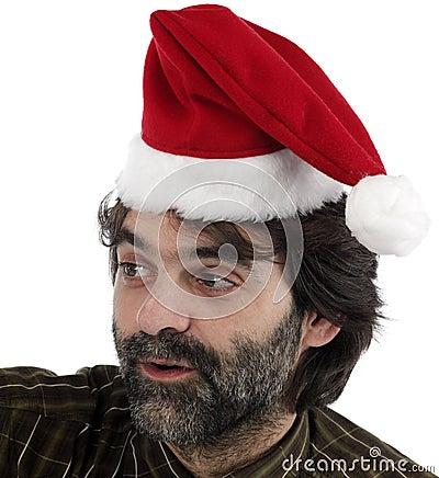 Man wearing red Santa hat