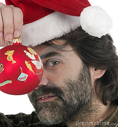 Man wearing red Santa hat