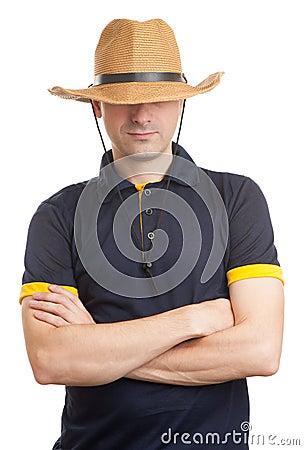 Free Man Wearing Straw Hat Royalty Free Stock Image - 56555216