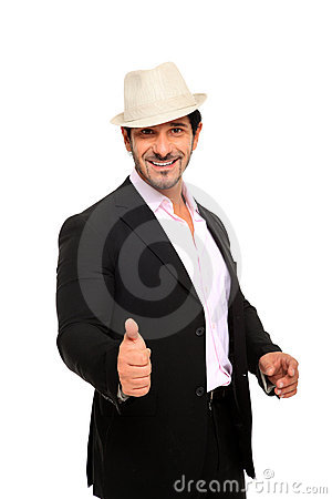Man wearing suit and hat