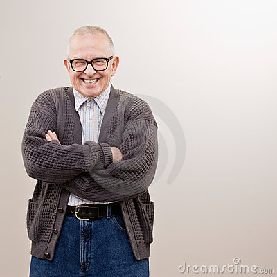Man wearing sweater and eyeglasses