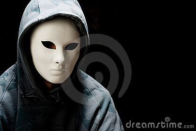 Man wearing white mask and hood