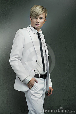Man wearing white suit