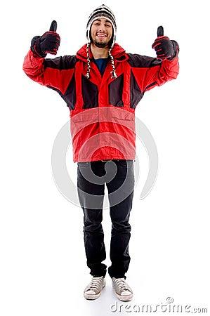 Man wearing winter cap and jacket