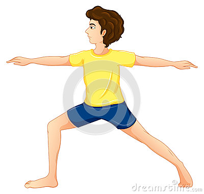 A man wearing a yellow tshirt performing yoga
