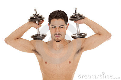 Man Weights On Shoulders No Shirt Stock Photo - Image: 19168400