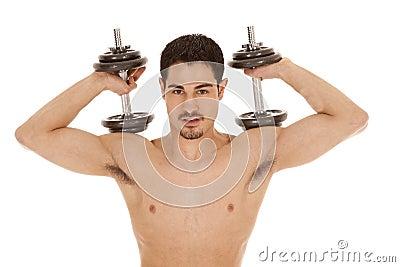 Man weights on shoulders no shirt