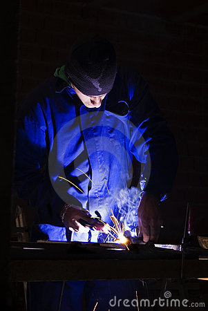 Man welding at work