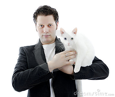 Man with white cat.