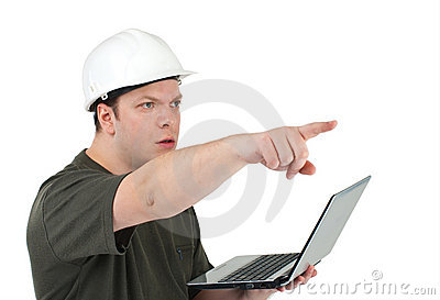 Man in a white helmet with the laptop in hands