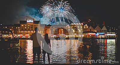 Man In White Shirt Beside Woman Watching Fire Works During Night Time Free Public Domain Cc0 Image