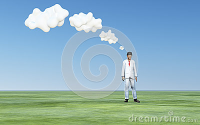 Man with white thought clouds