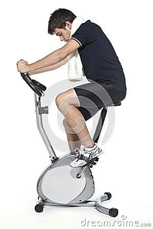 Man who pedal stationary bikes