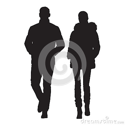 Man and wife are dressed in winter clothes Vector Illustration