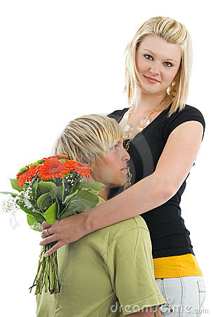 Man and wife with flower.