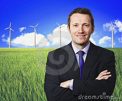 Man and wind turbine