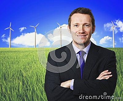 Man and wind turbine